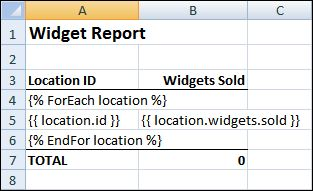Template of Widget Report in Excel